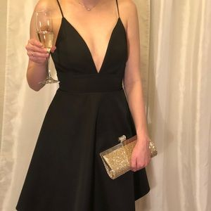 Knee-Length Cocktail Dress with Plunging Neckline